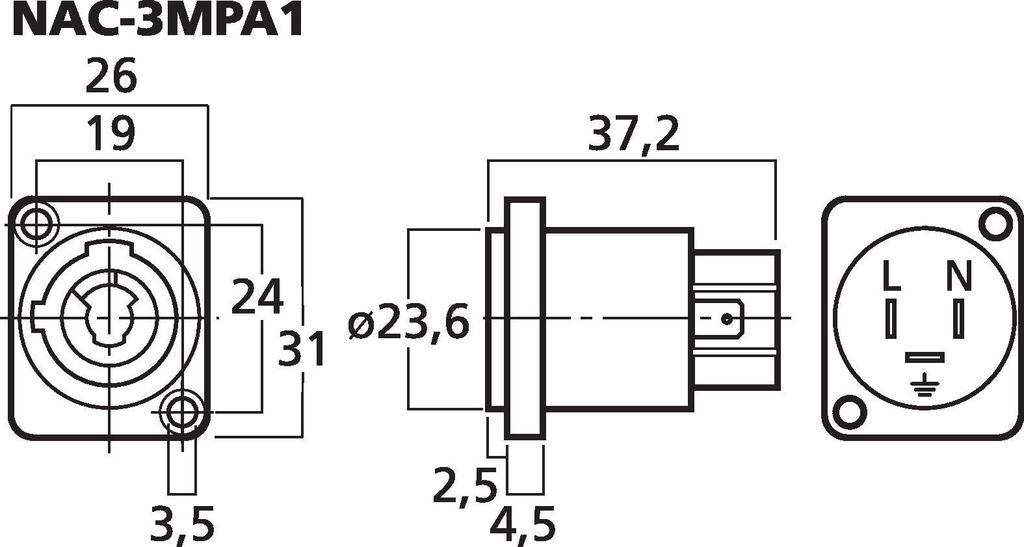 MONACOR NAC-3MPA1 NEUTRIK-POWERCON-Einbaubuchse, Typ A