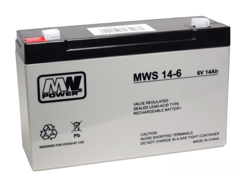 AGM-Batterie 6V 14Ah MW-Power MWS 14-6 VRLA-Technik wartungsfrei