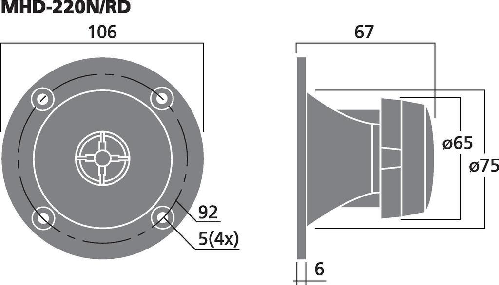 MONACOR MHD-220N/RD PA-Hornhochtöner, 30 W, 8 Ω
