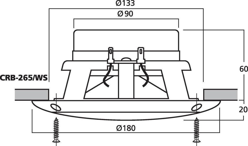 MONACOR CRB-265/WS Einbaulautsprecher-Paar, 30 W, 4 Ω