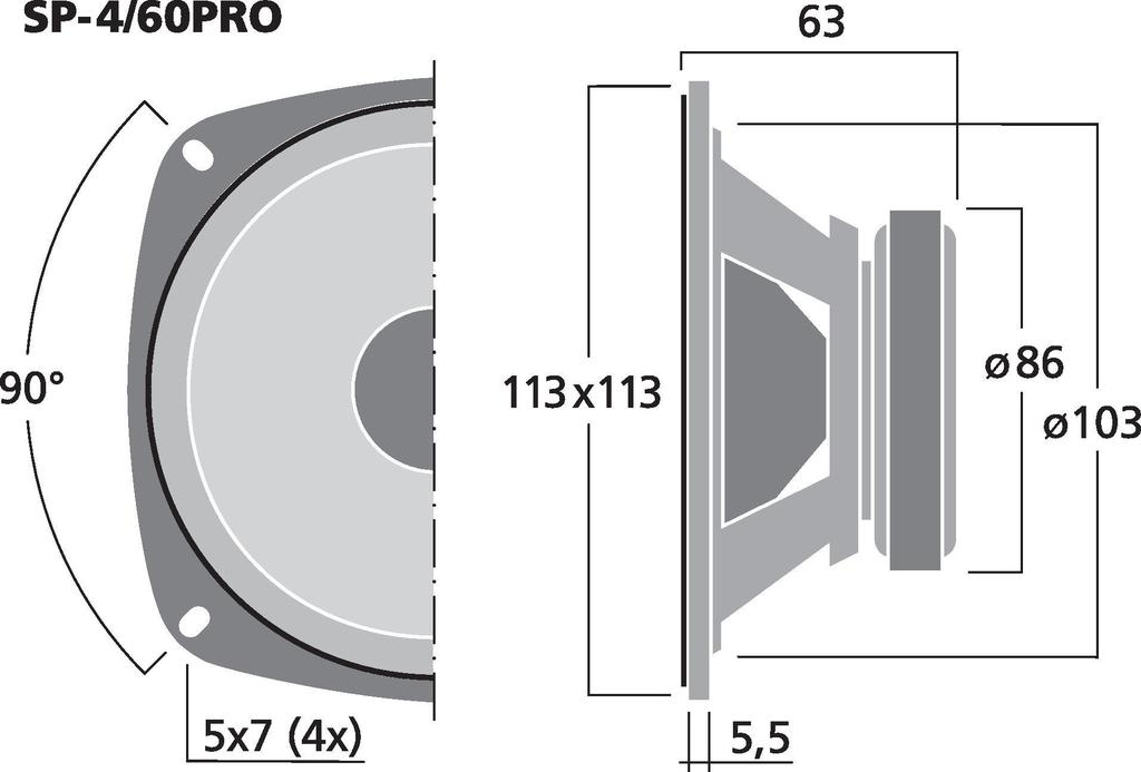 MONACOR SP-4/60PRO PA-Mitteltöner, 30 W, 8 Ω