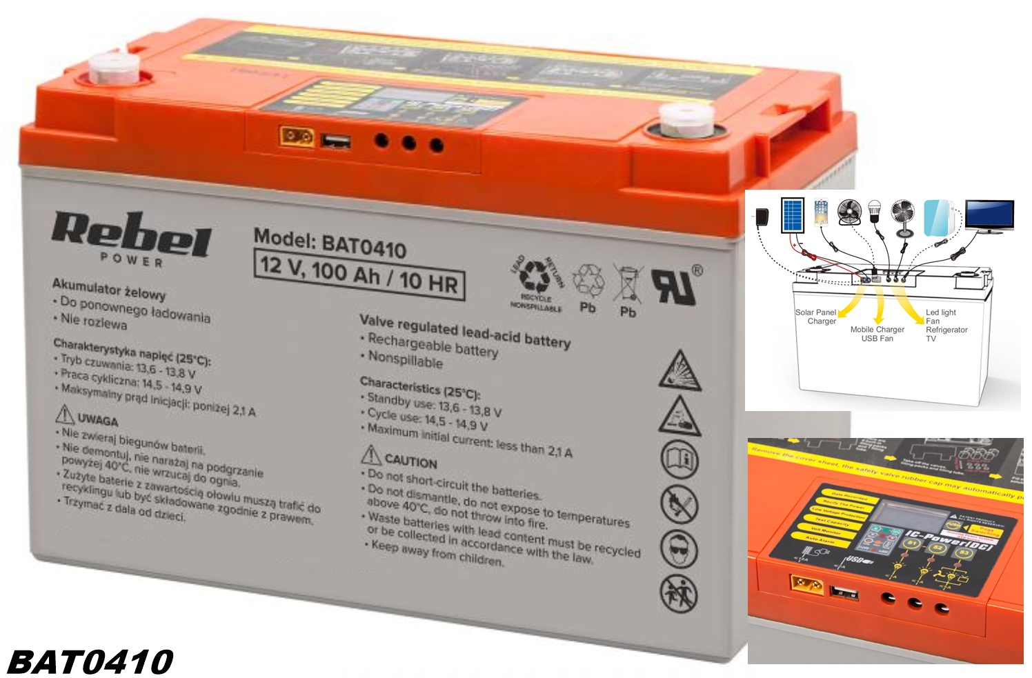 Rebel OutDo Gel-Batterie 12V 100Ah mit Batteriemanagement