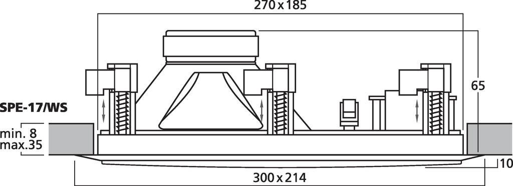 MONACOR SPE-17/WS Hi-Fi-Wand- und Deckenlautsprecher, 8 Ω
