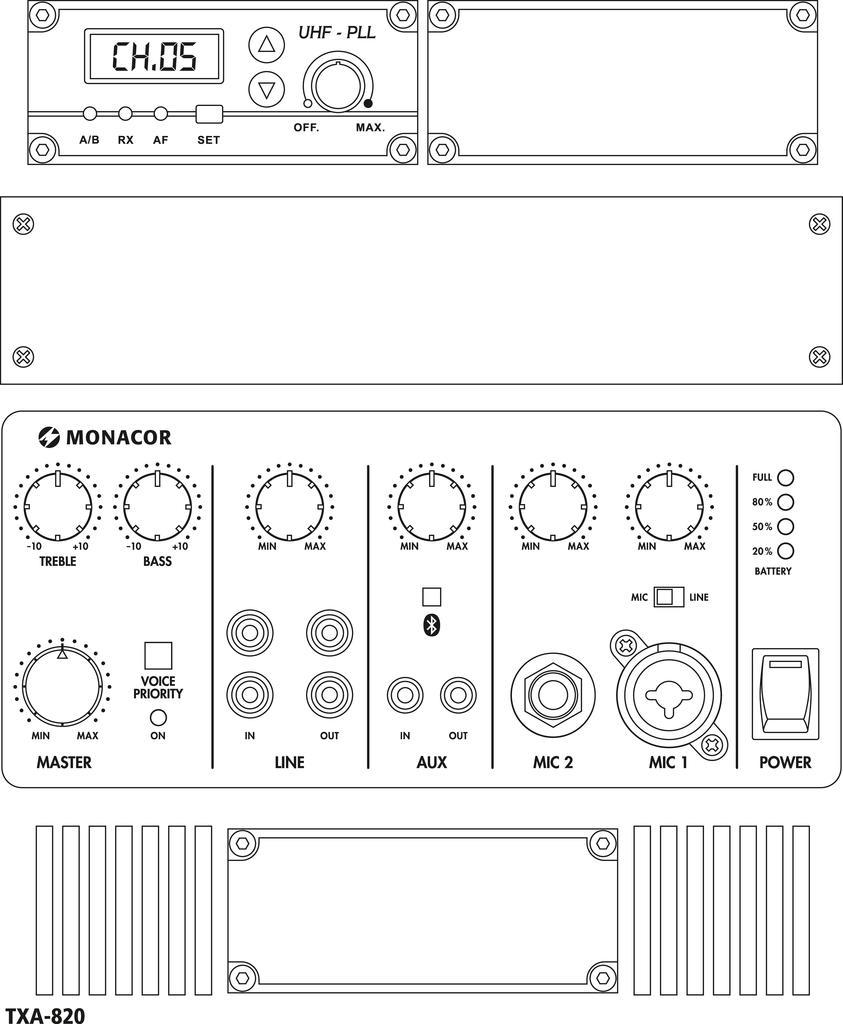 MONACOR TXA-820 Transportables Verstärkersystem
