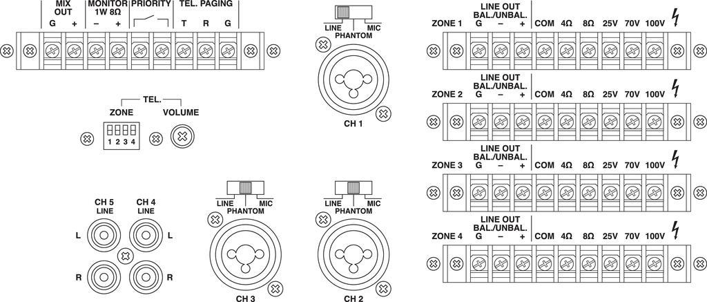 MONACOR PA-4040 4-Zonen-Matrix-Mischverstärker