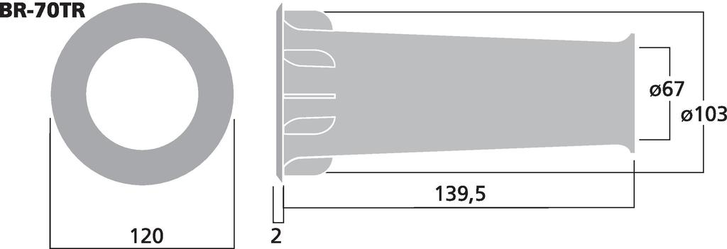 MONACOR BR-70TR Bassreflexrohr SV=38,4 cm2
