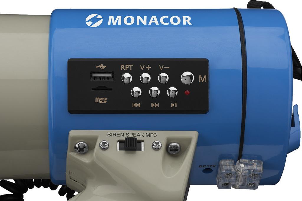 MONACOR TM-17M Megafon mit MP3-Funktion, 110 dB