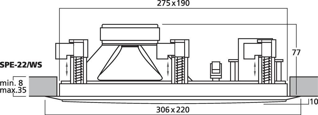 MONACOR SPE-22/WS Hi-Fi-Wand- und Deckenlautsprecher, 8 Ω