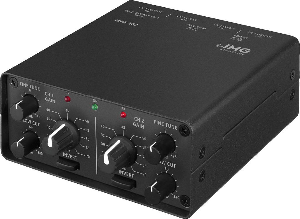 IMG STAGELINE MPA-202 2-Kanal-Low-Noise-Mikrofon-Vorverstärker