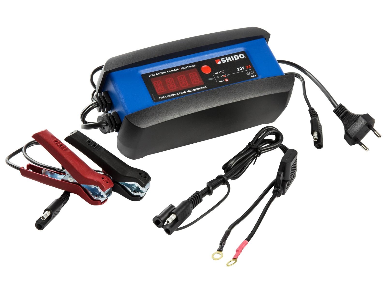 Shido DC3 Batterie Ladegerät für Lithium LIon LifePO4 AGM Gel mit Zubehör