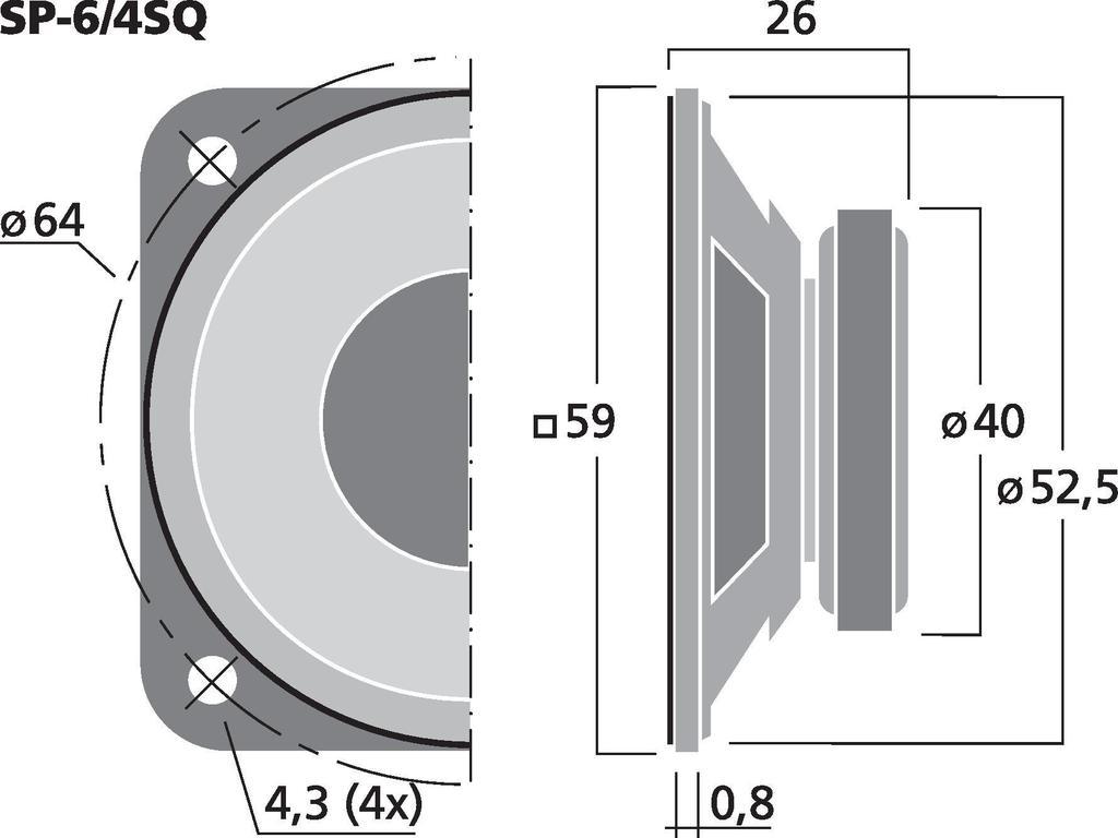 MONACOR SP-6/4SQ Universallautsprecher, 3 W, 4 Ω