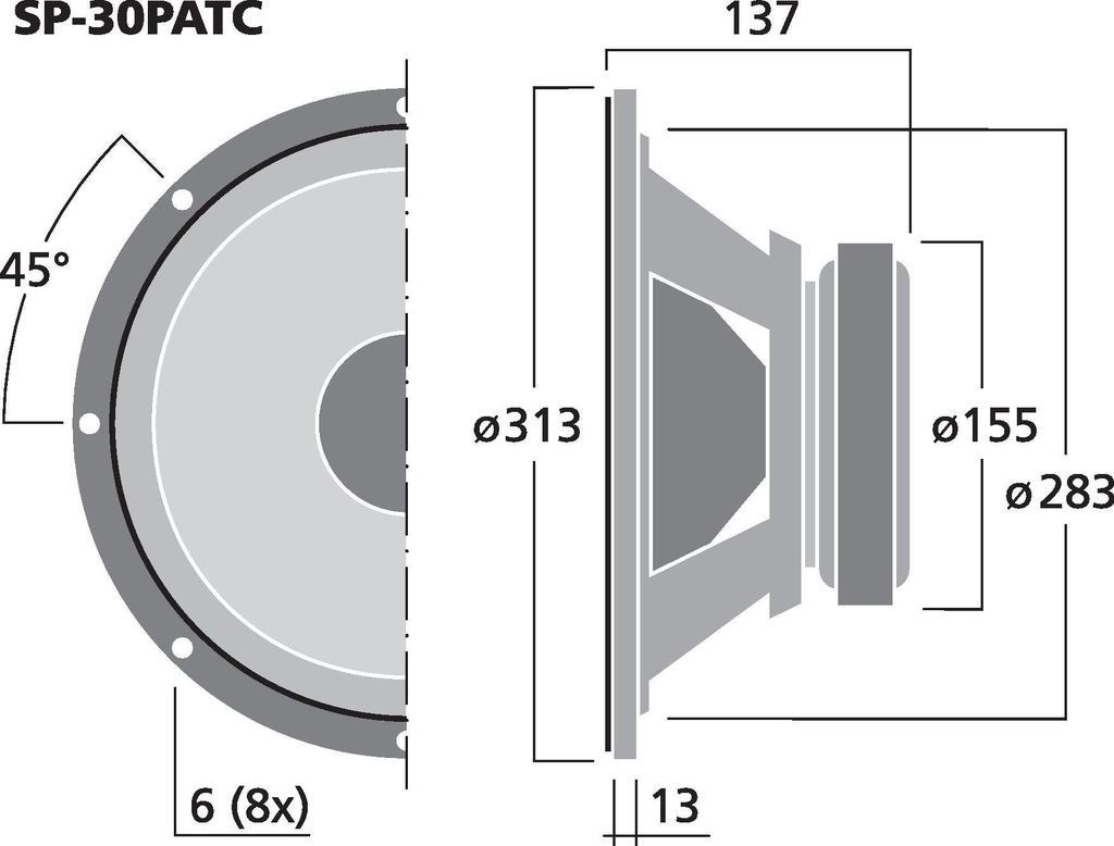 MONACOR SP-30PATC PA-Breitbandlautsprecher, 200 W, 8 Ω