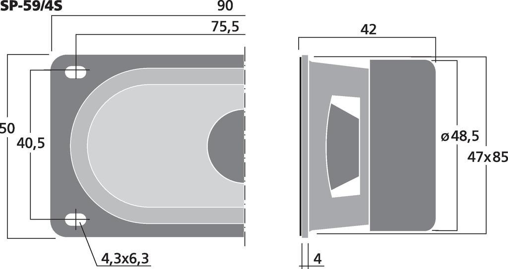 MONACOR SP-59/4S Universallautsprecher, 3 W, 4 Ω