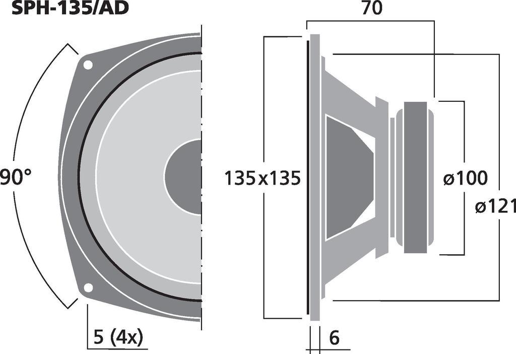 MONACOR SPH-135/AD Hi-Fi-Tiefmitteltöner, 40 W, 8 Ω