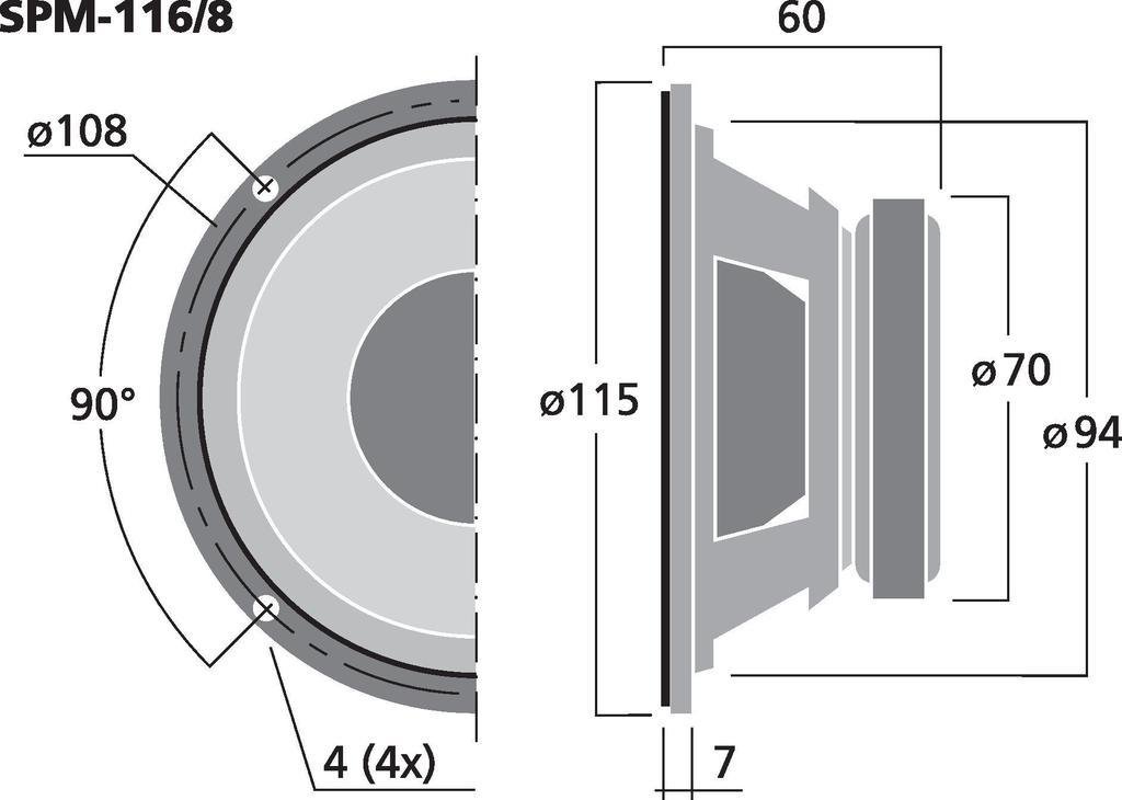 MONACOR SPM-116/8 Hi-Fi-Tiefmitteltöner, 40 W, 8 Ω