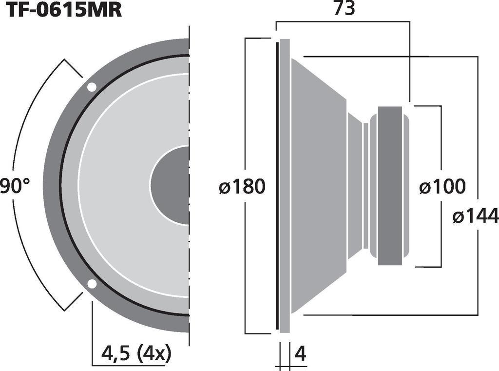 MONACOR TF-0615MR PA-Mitteltöner, 50 W, 8 Ω