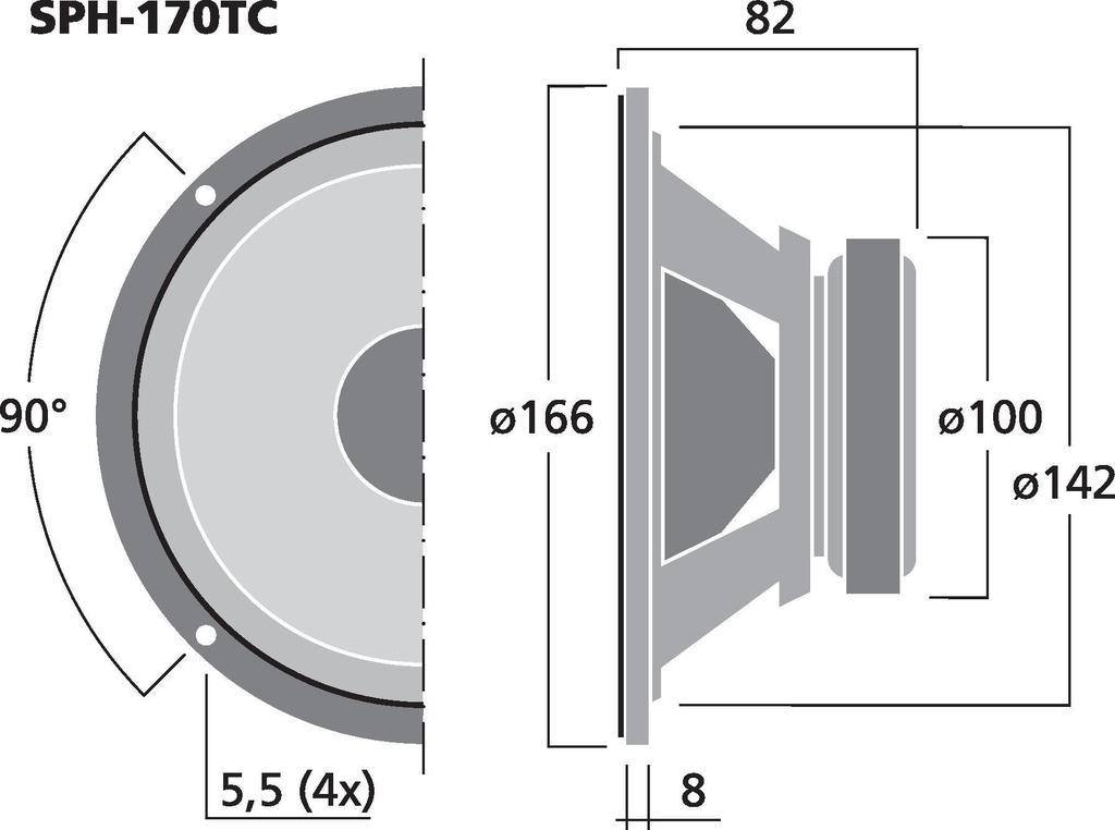 MONACOR SPH-170TC Hi-Fi-Tiefmitteltöner, 2 x 40 W , 2 x 8 Ω