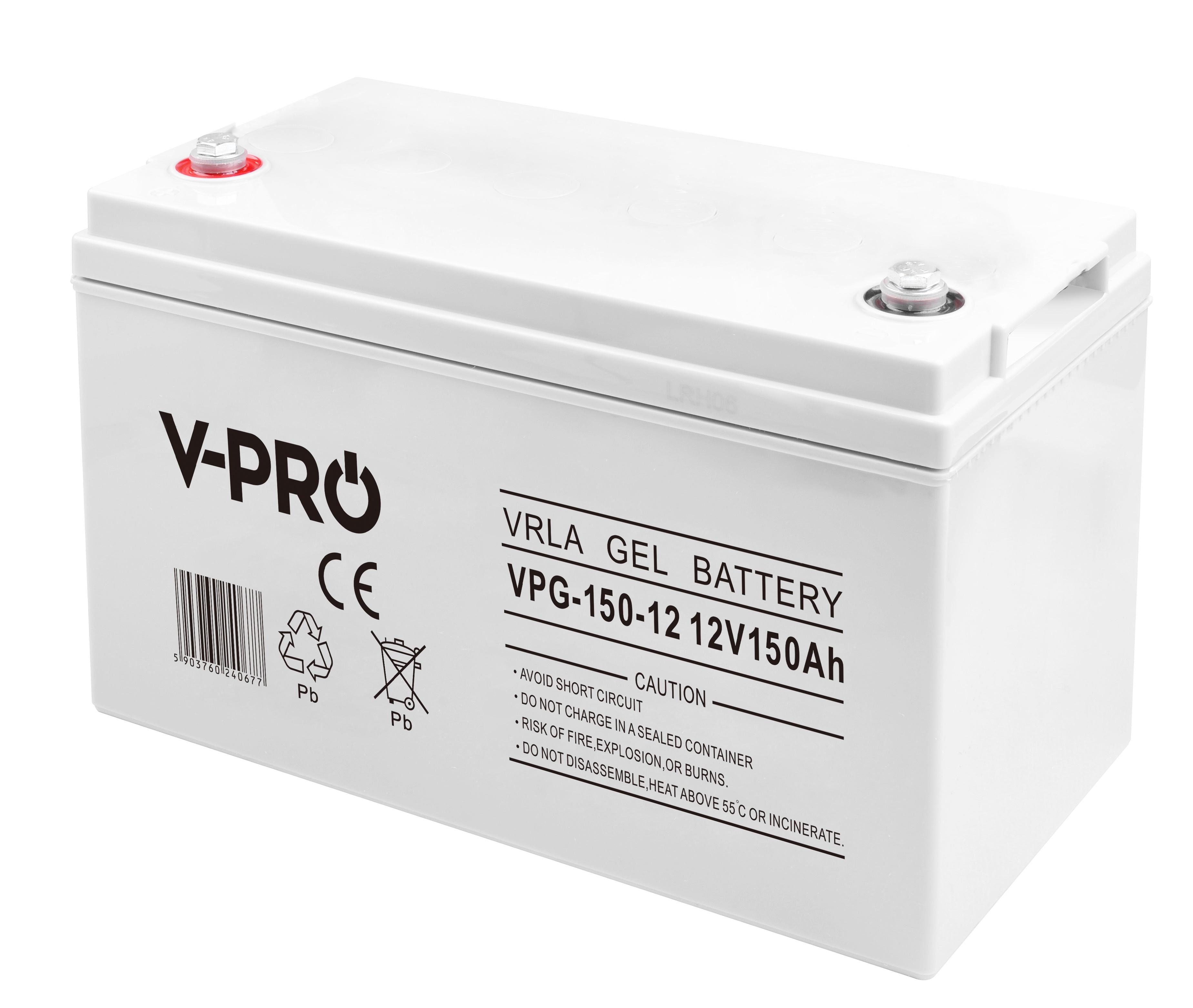 GEL-Batterie 12V VProGel 150Ah (C10) perfekte Solar- und Wohnmobilbatterie