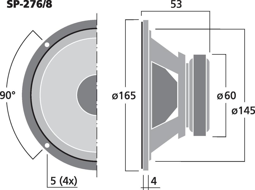 MONACOR SP-276/8 Universal-Breitbandlautsprecher, 5 W, 8 Ω