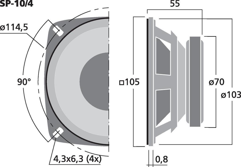 MONACOR SP-10/4 Universallautsprecher, 15 W, 4 Ω