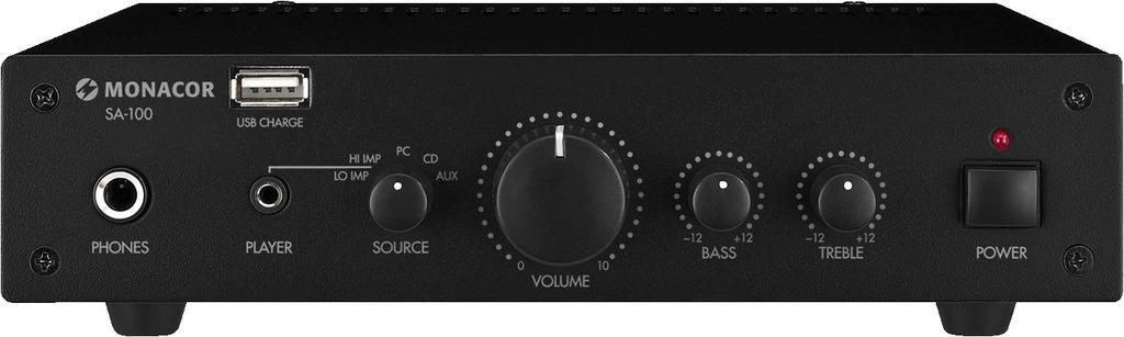 MONACOR SA-100 Kompakter Universal-Stereo-Verstärker, 50 W