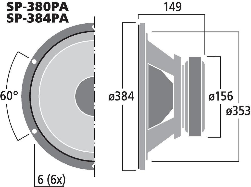 MONACOR SP-380PA PA- und Power-Tieftöner, 250 W, 8 Ω (SP-380PA) und 4 Ω (SP-384PA)