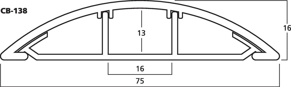 MONACOR CB-138 Kabelbrücke, grau, 100 x 7,5 x 1,7 cm