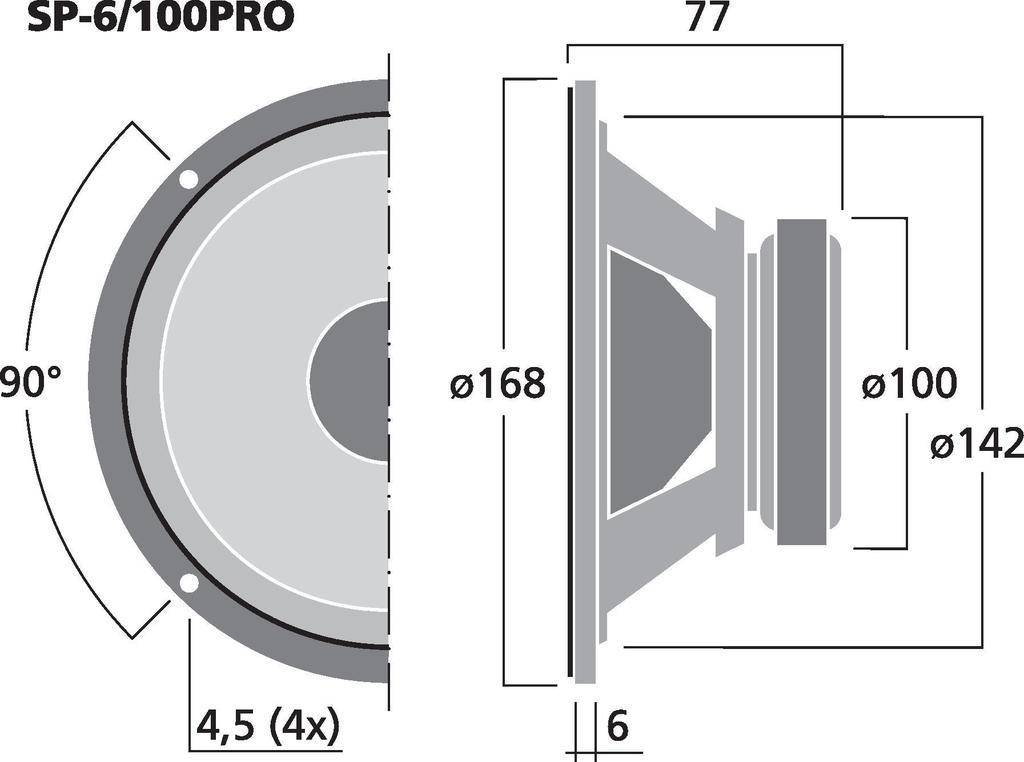 MONACOR SP-6/100PRO PA-Tiefmitteltöner, 100 W, 4 Ω