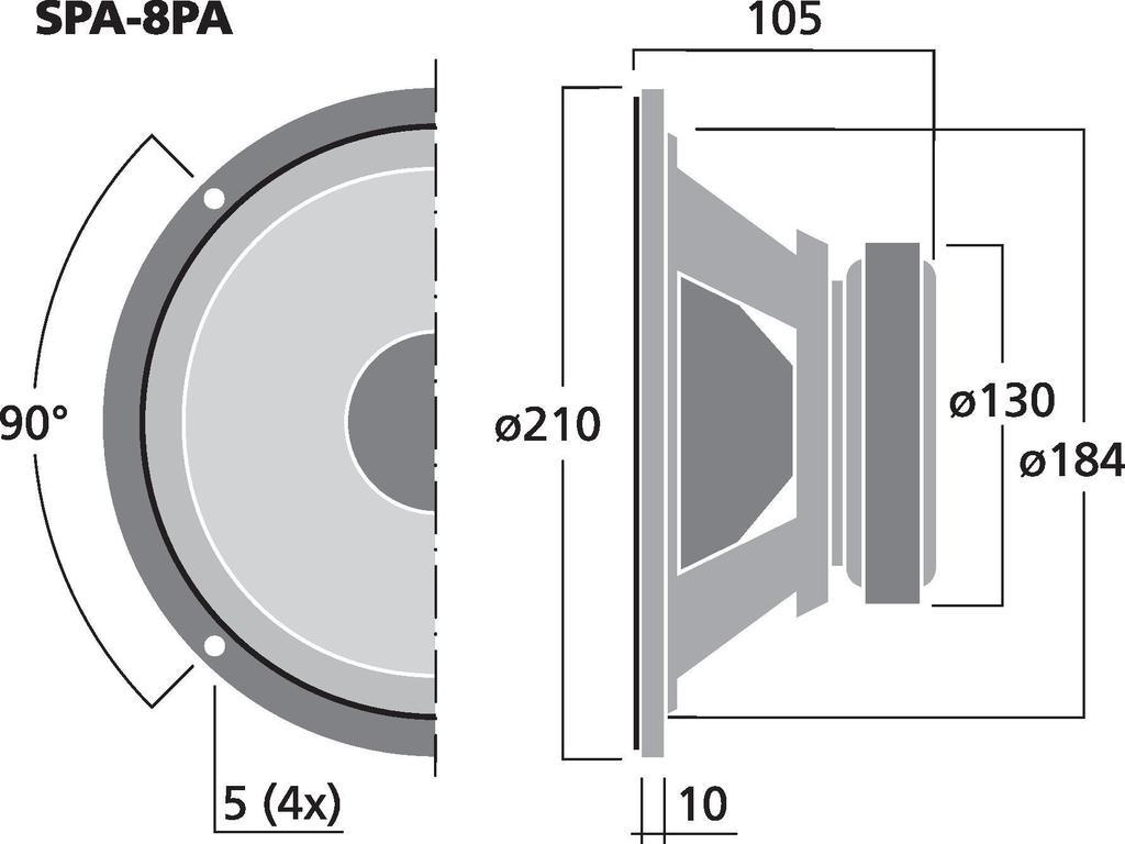 MONACOR SPA-8PA PA-Tiefmitteltöner, 100 W, 8 Ω