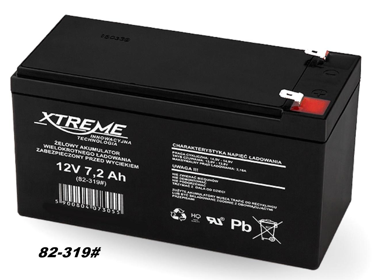 AGM-Batterie 12V 7,2Ah  von XTREME – Markenware