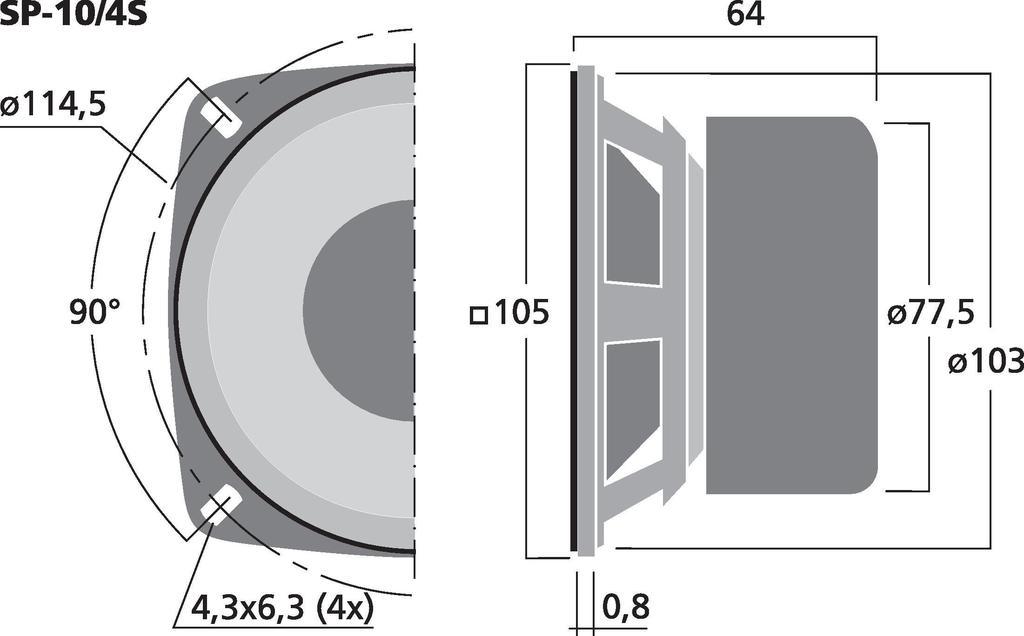 MONACOR SP-10/4S Universallautsprecher, 15 W, 4 Ω