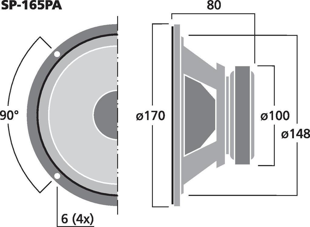 MONACOR SP-165PA PA- und Power-Mitteltöner, 50 W, 8 Ω