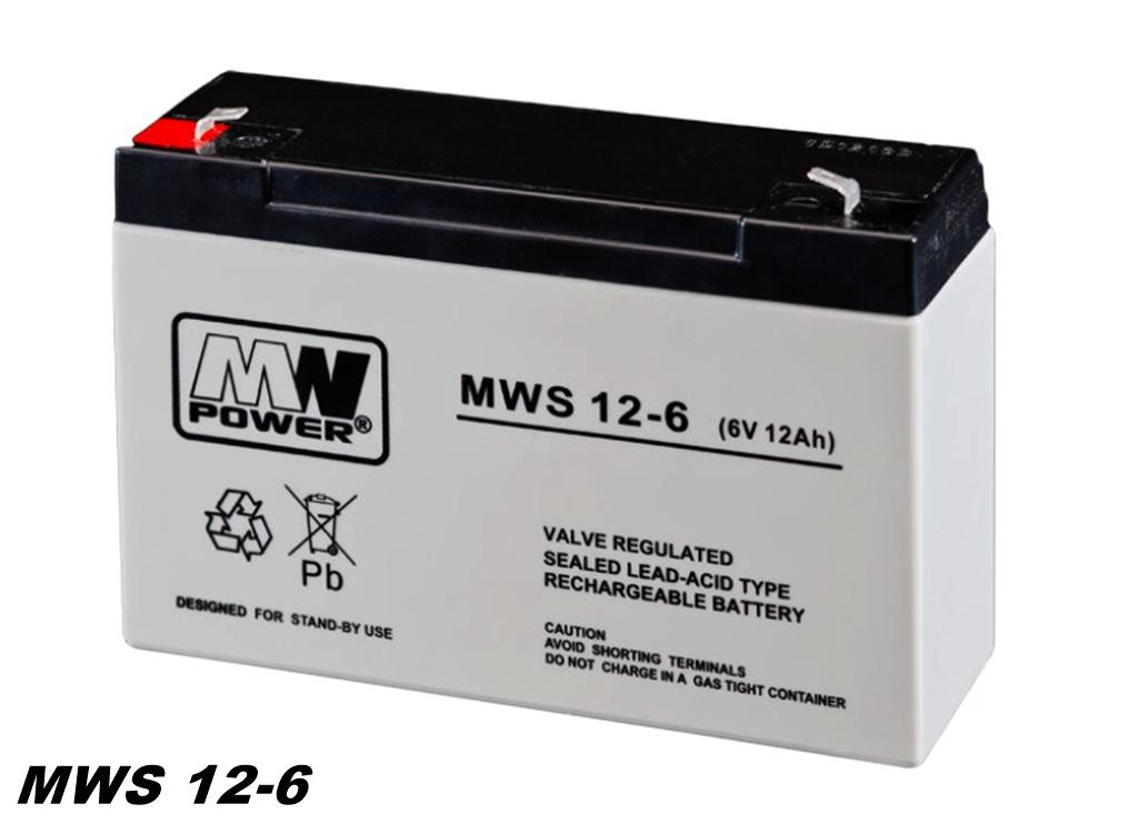 AGM-Batterie 6V 12Ah MW-Power MWS 12-6 VRLA-Technik wartungsfrei