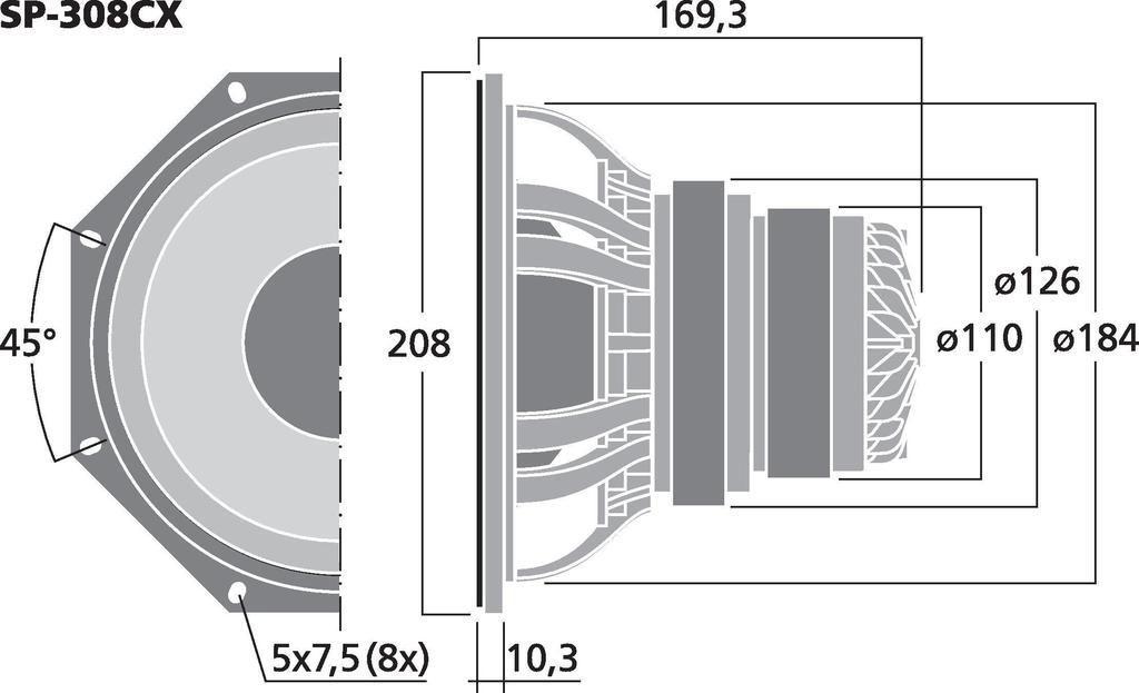 MONACOR SP-308CX PA-2-Wege-Koaxiallautsprecher