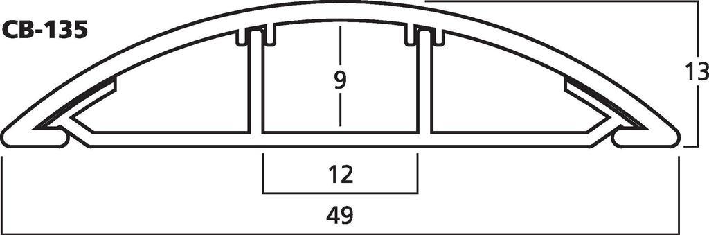 MONACOR CB-135 Kabelbrücke, grau, 100 x 5 x 1,5 cm