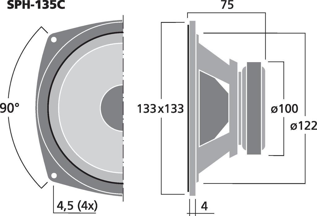 MONACOR SPH-135C Hi-Fi-Tiefmitteltöner, 50 W, 8 Ω