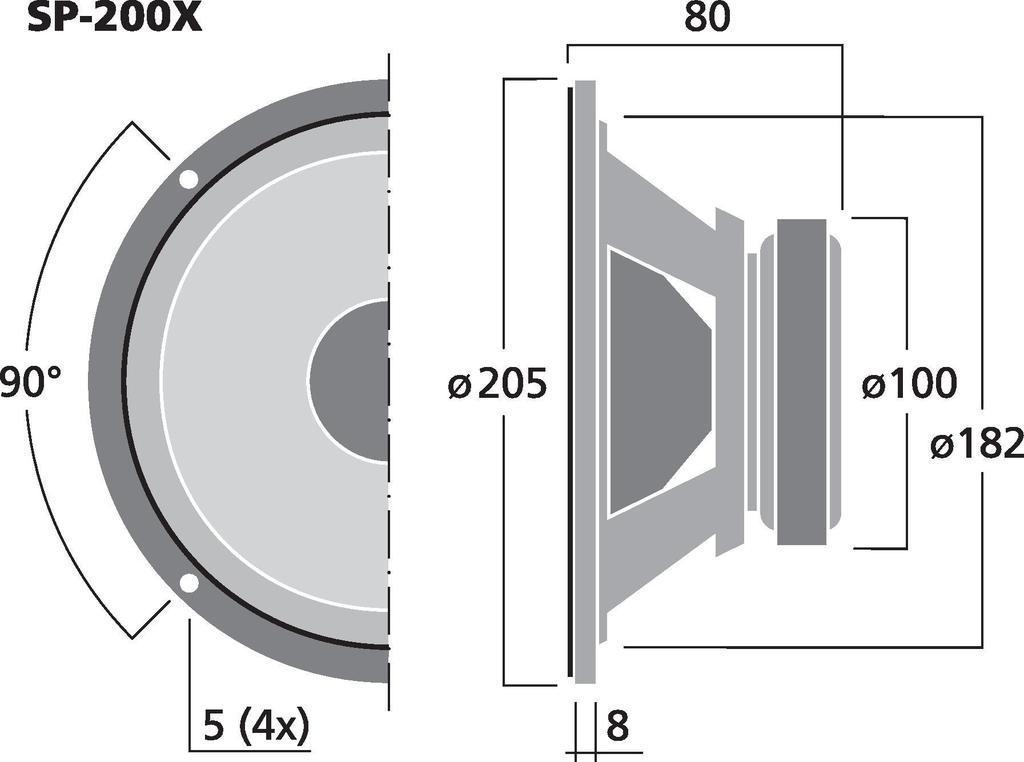 MONACOR SP-200X Hi-Fi-Breitbandlautsprecher, 35 W, 8 Ω