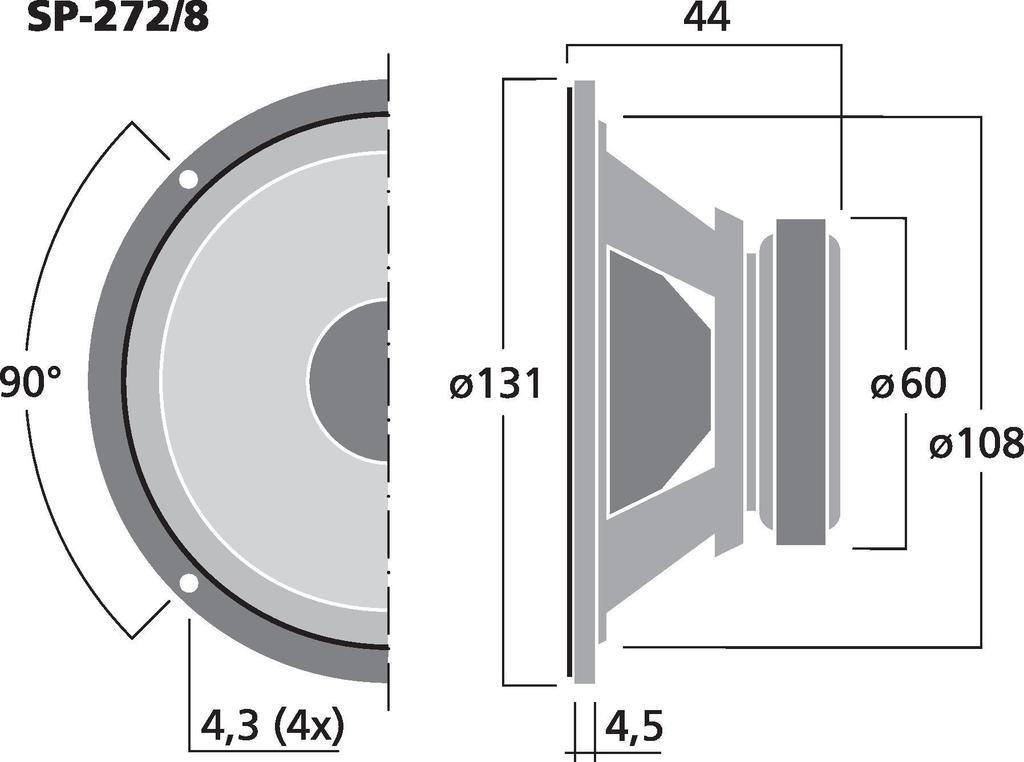 MONACOR SP-272/8 Universal-Breitbandlautsprecher, 5 W, 8 Ω