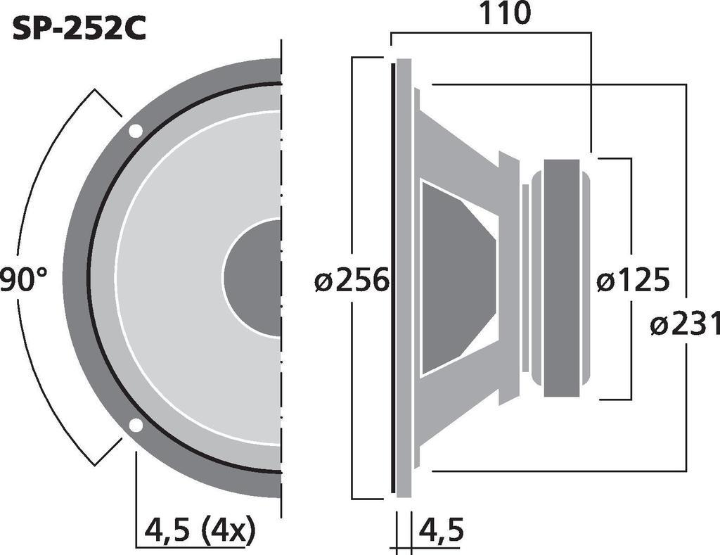MONACOR SP-252C Car-Hi-Fi-Tieftöner, Ø 25 cm, 100 W, 4 Ω