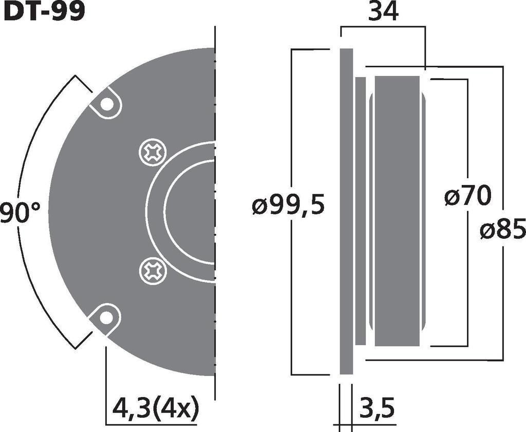 MONACOR DT-99 Hi-Fi-Kalottenhochtöner, 40 W, 8 Ω