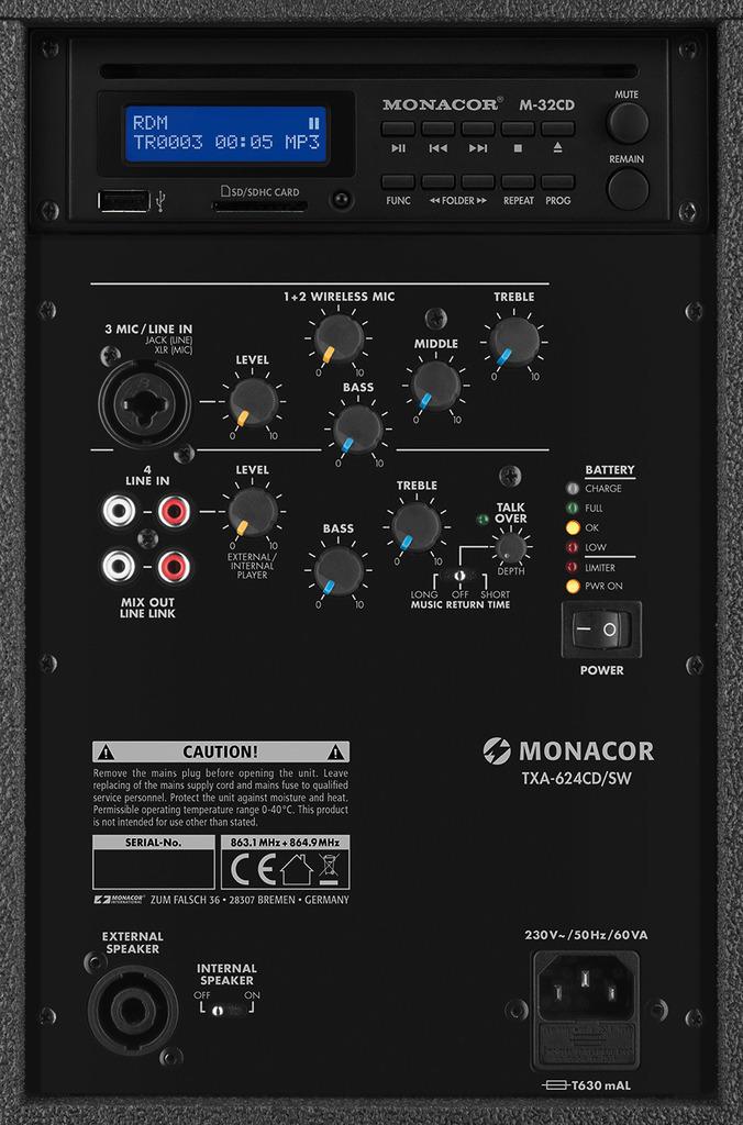 MONACOR TXA-624CD/SW Transportables Verstärkersystem