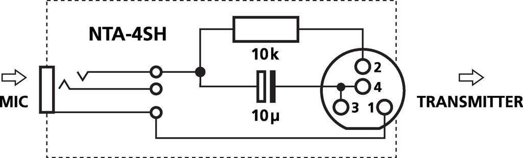 MONACOR NTA-4SH Adapter für Kopf- und Ohrbügelmikrofone