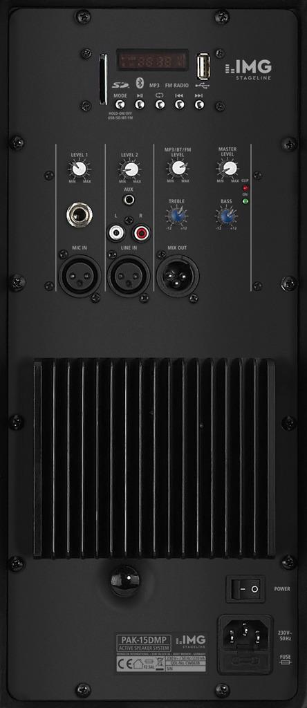 IMG STAGELINE PAK-15DMP Aktive DJ- und Power-Lautsprecherbox, 200 W