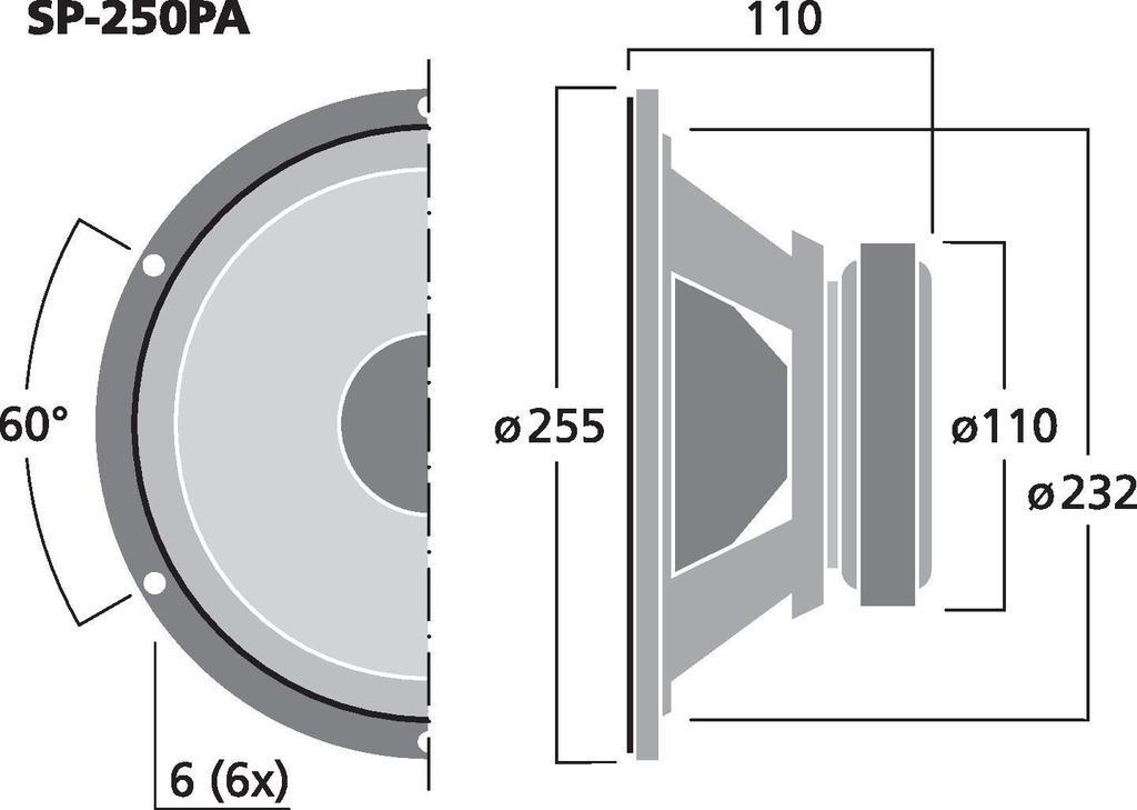 MONACOR SP-250PA PA- und Power-Tiefmitteltöner, 125 W, 8 Ω