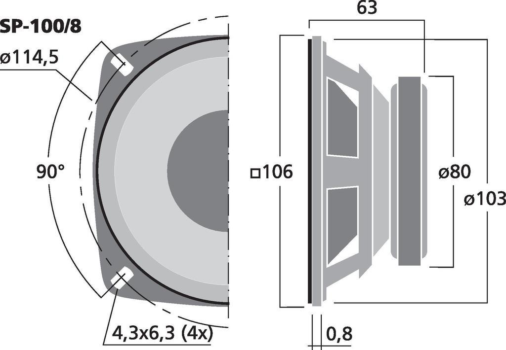 MONACOR SP-100/8 Hi-Fi-Tiefmitteltöner, 30 W, 8 Ω