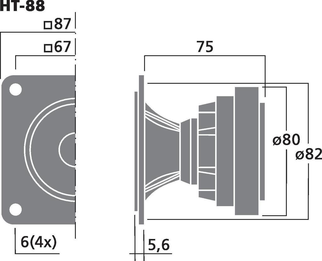 MONACOR HT-88 PA-Hornhochtöner, 50 W, 8 Ω