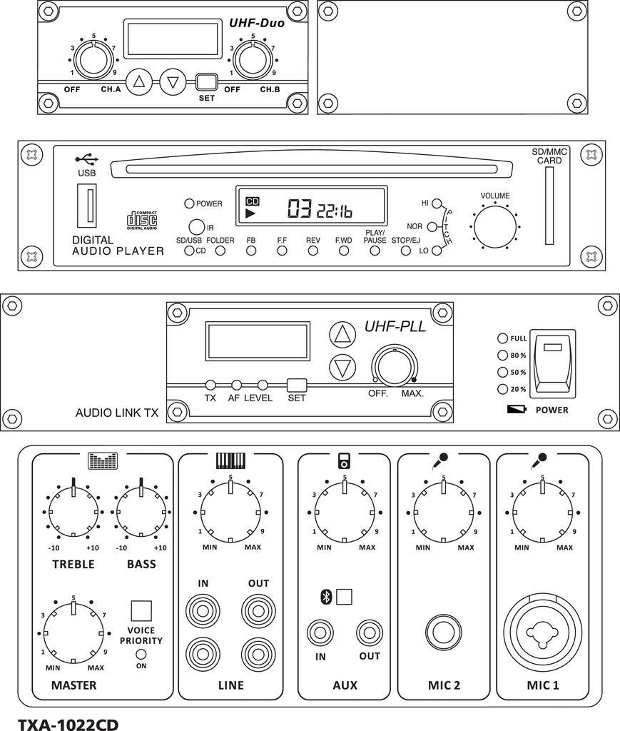 MONACOR TXA-1022CD Transportables High-Power-Verstärkersystem