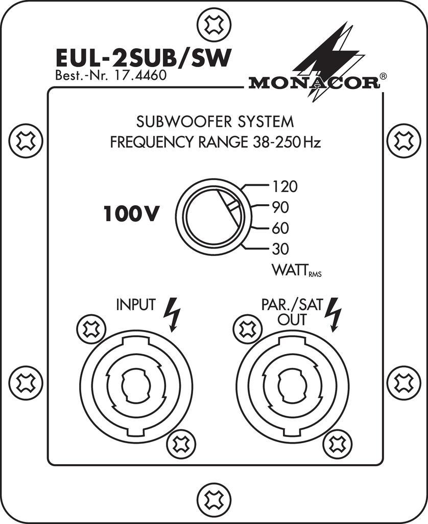 MONACOR EUL-2SUB/SW Subwoofer in 100-V-Technik