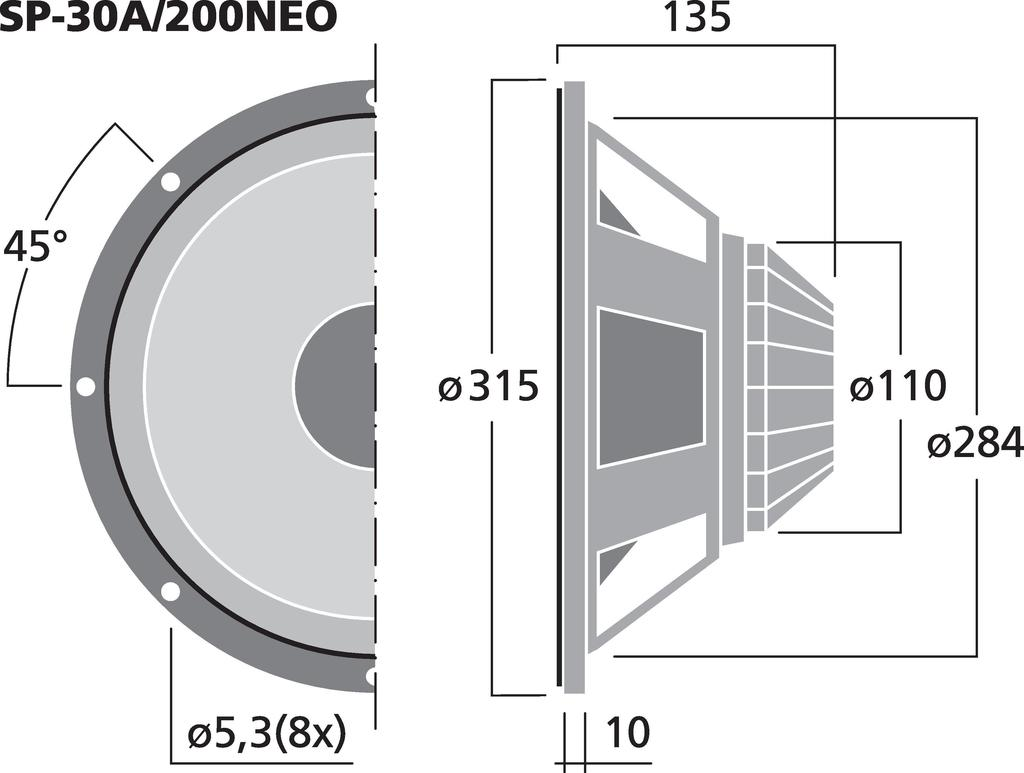 MONACOR SP-30/200NEO NEODYM-PA-Tiefmitteltöner, 400 W/200 W (MAX/RMS), 8Ω