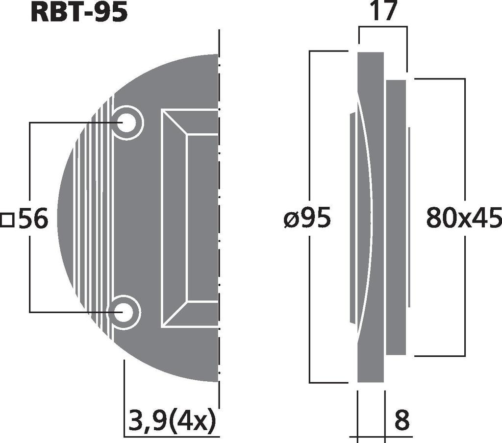 MONACOR RBT-95 Bändchen-Hochtöner, 30 W, 8 Ω
